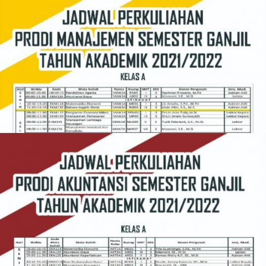 Jadwal Perkuliahan Semester Ganjil TA. 2021/2022