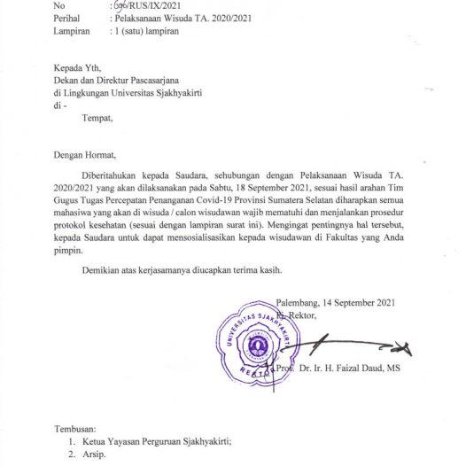 Pengumuman Protokol Pelaksanaan Wisuda TA. 2020/2021